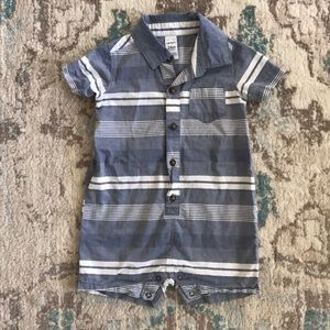 Carter's striped blue button up romper outfit
